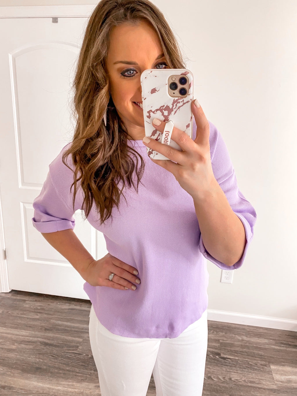 Lavender Waffle Knit Top