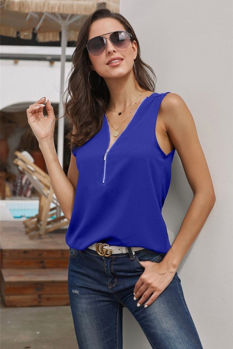 Simple Zip Neckline Tank Top