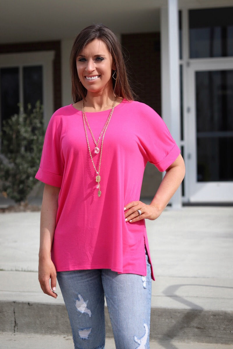 Fuchsia Round Neck Top