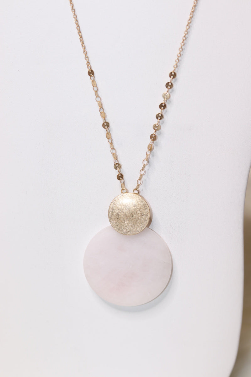 Rose Quartz Circle Stone Pendant Necklace