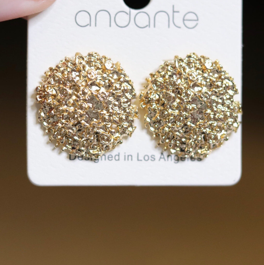 Gold Textured Post Earrings