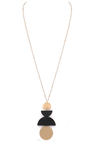 Metal/wood stacked circle pendant necklace - EmmyLou Boutique