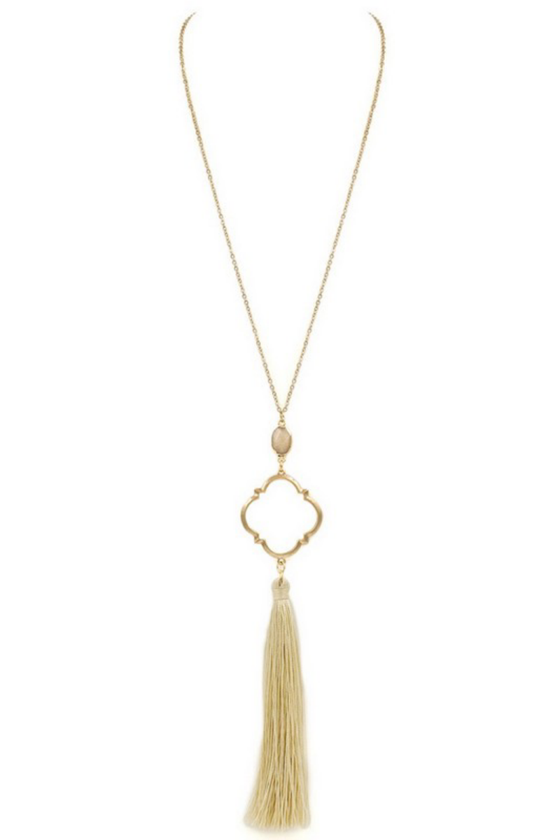 Natural Tassel Gold Moroccan Pendant Necklace - EmmyLou Boutique
