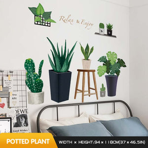 Cactus wall stickers self-adhesive