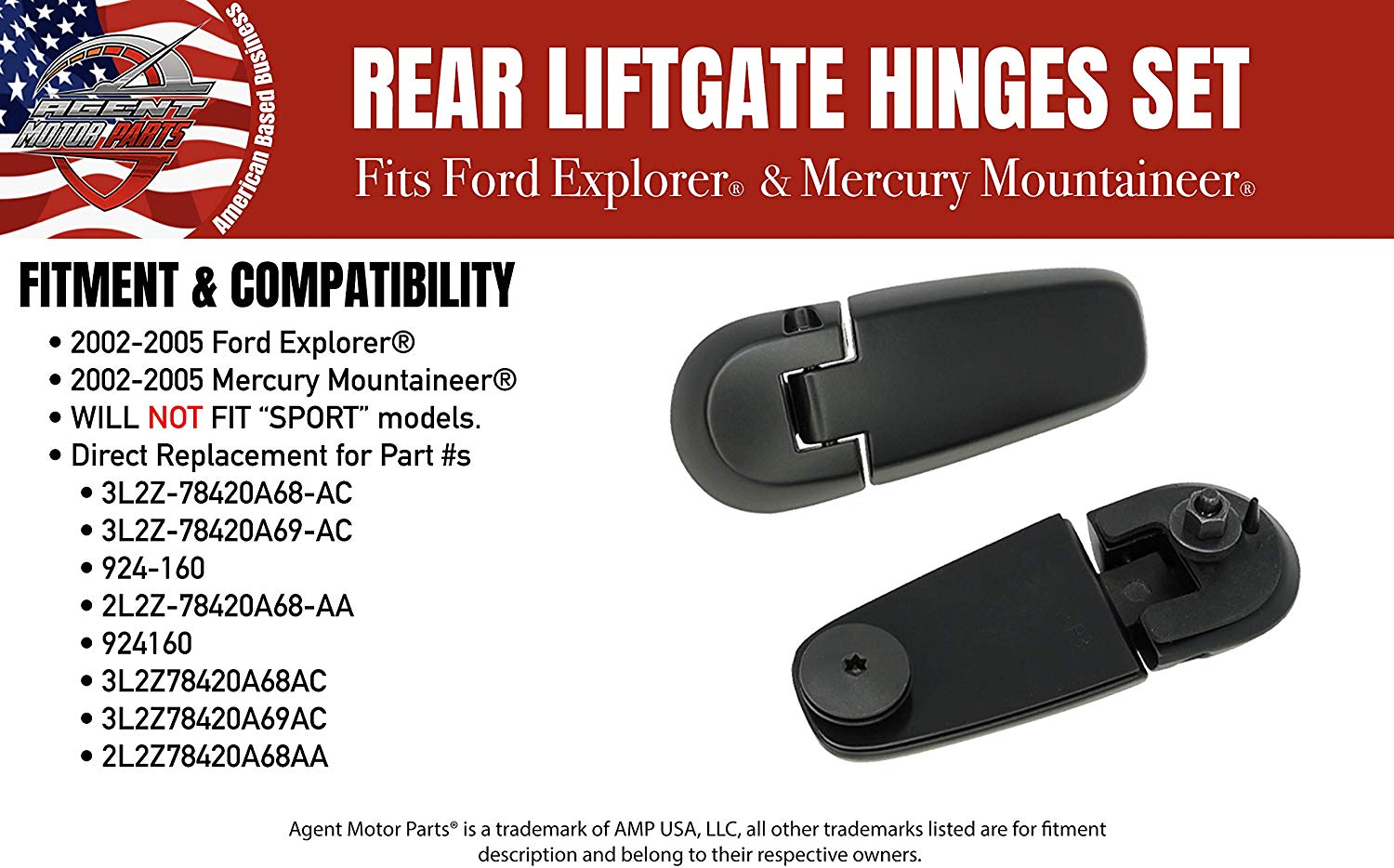 ECCPP Window Glass Hinge Kit 2002-2005 for Ford Explorer for Mercury Mountaineer Rear Liftgate Glass Hinge Set Replace 3L2Z78420A69AC