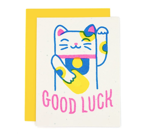 Good Luck Lucky Cat Risograph Card