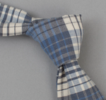 Mills Waterfall Square End Plaid Tie - Indigo/Grey