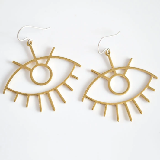 Eyes for Days Dangle Earrings - Brass