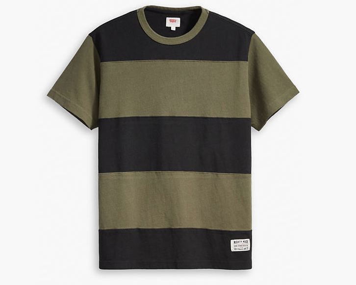 Mighty Made Pieced Tee Shirt - Olive Night & Black Stripe