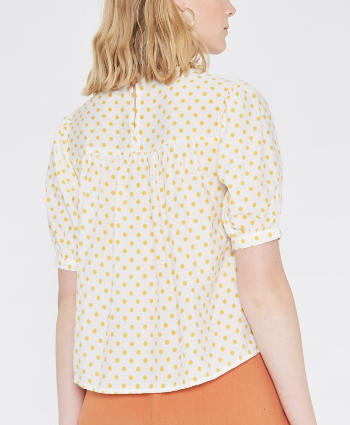 Polka Dot Top - White/Yellow