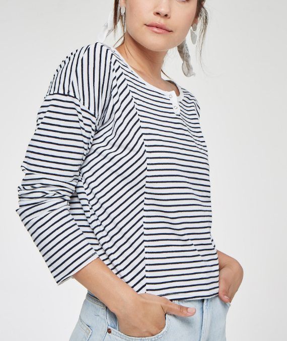 French Kissing Striped Henley - White/Navy
