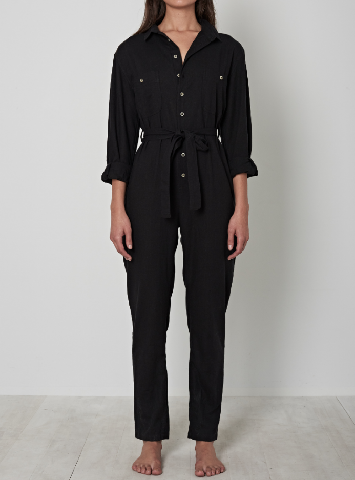 Horizon Long Sleeve Boiler Suit - Black