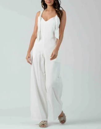 Clover Knot Jumpsuit - White