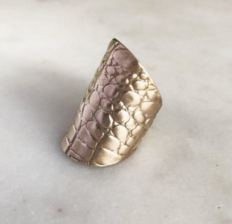 Alligator Skin Cuff Ring - Bronze