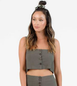 Tutus Button Front Crop Top - Olive
