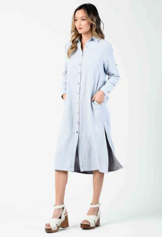 Viola Button Down Shirt Dress - Sea Mist