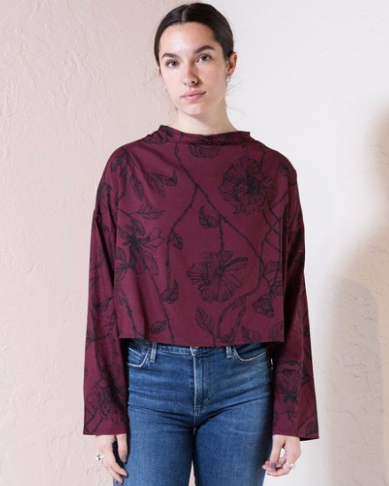 Intricate Rose Blouse - Burgundy