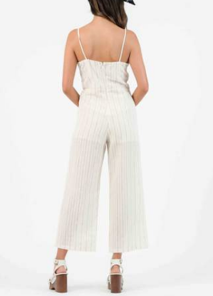 Ohana Jumpsuit - Tan/Rainbow Stripe