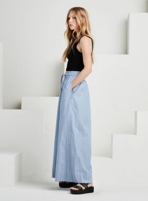 Striped Wide Leg Trousers - Blue/White