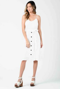 Cleopatra Low Back Midi Dress - White