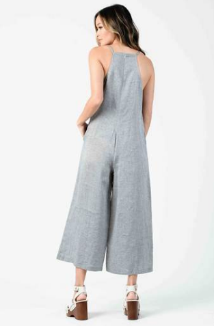 Gauzy Jumpsuit - Navy Crosshatch