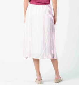Cassia Button Front Midi Skirt - Lavender Stripe