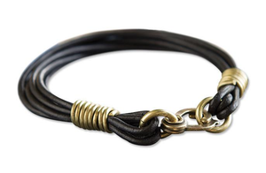 Leather Strand Bracelet - Brass/Black