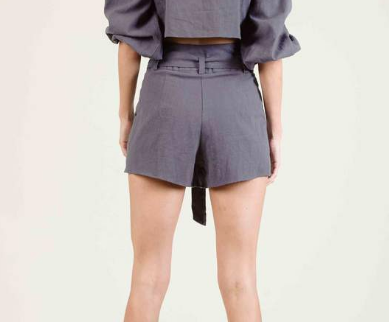 Jordyn High Waisted Belted Shorts - Charcoal