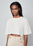 The Amy Tee - Oatmeal Stripe