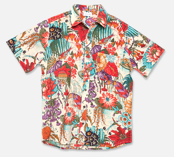 Point Collar Shirt - Natural Floral