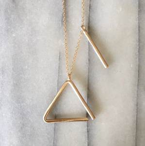 "Triangle Necklace - Bronze 18"" Gold Filled"