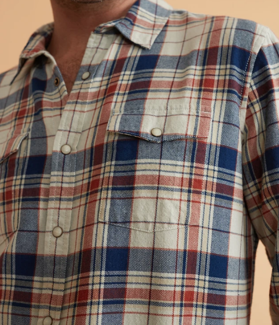 Indigo Western Shirt - Natural/Indigo Plaid