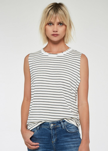 Tommie Striped Tank - Ivory/Black