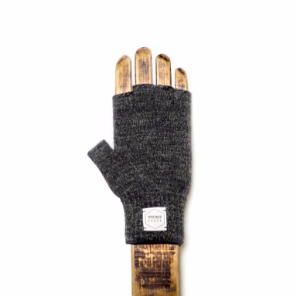 Fingerless Ragg Wool Gloves - Black Melange