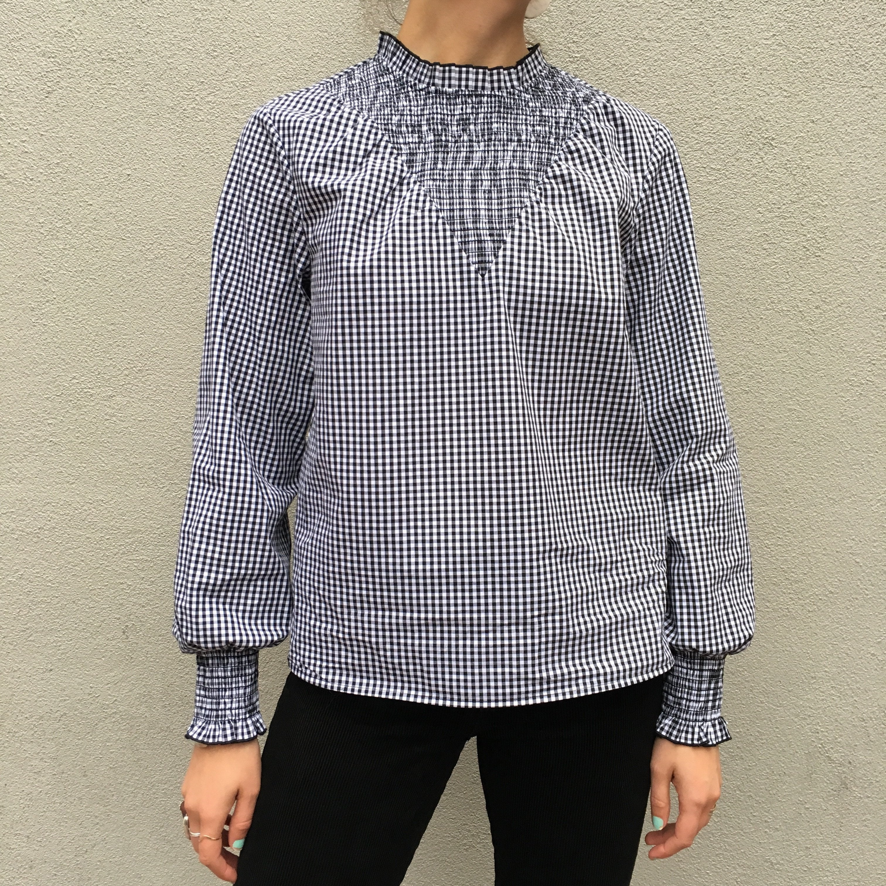 Smocked Cotton Top - Checkered