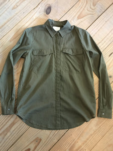Cotton Button Up Shirt - Olive
