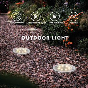 8 LED Solar Power Buried Ground Light Path Way Garden Decking Lamp