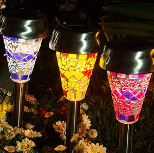Color Mosaic Lampshade LED Garden Lights