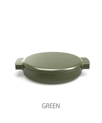 O-THP-23GN ENAMELED CAST IRON PAN (GREEN)