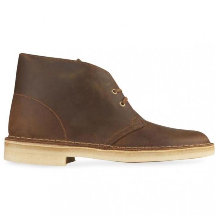 Clarks Boys Brown Beeswax Leather Desert Boots