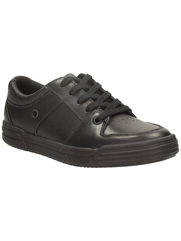 Clarks Chad Rail Lace Up Black Leather Boys School Shoes