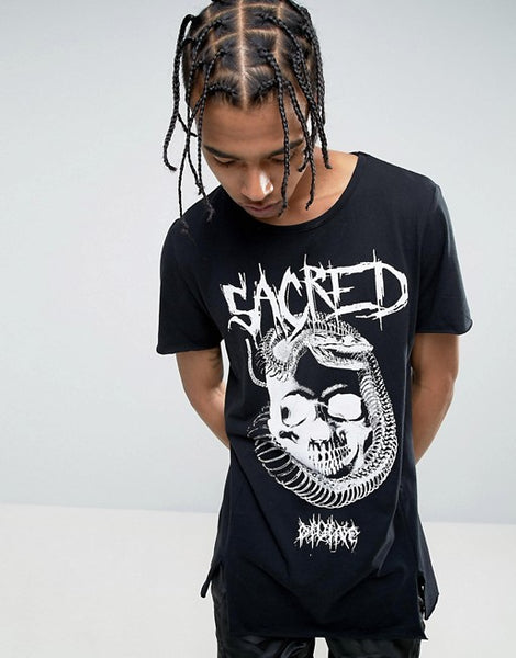 New Look Longline T-Shirt With Sacred Print In Black - Stockpoint Apparel Outlet