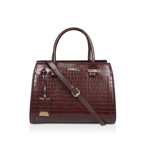 Kurt Geiger Carvela Holly Croc Zip Brown Womens Tote Bag