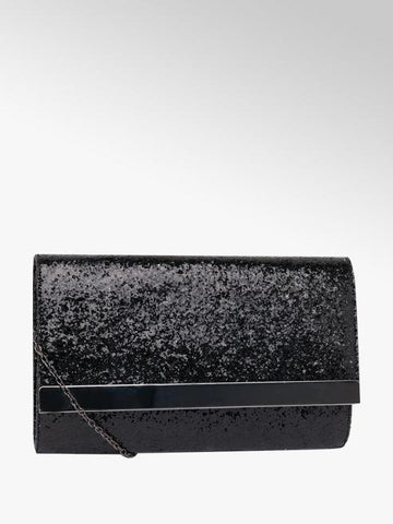 Deichmann Womens Black Glitter Clutch Bag