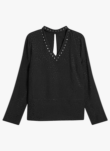 Next Womens Black Studded Choker Jacquard Blouse