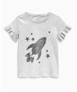Next Girls Grey Rocket Ruffle Sleeve T-Shirt