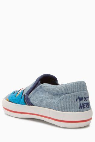 Next Younger Boys Chambray Sonic The Hedgehog™ Slip-Ons