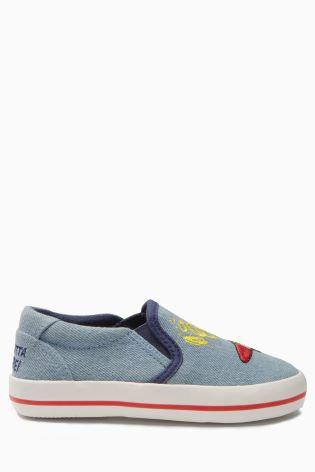 Next Younger Boys Chambray Sonic The Hedgehog Slip-Ons