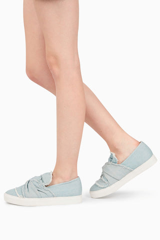 Next Womens Denim Blue Bow Slip-On Skaters