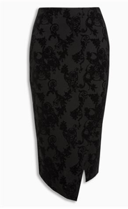 Next Womens Black Flock Pencil Skirt